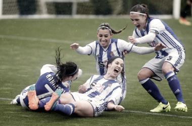 Las jugadoras de la Real >sociedad celebran el primer gol logrado por Itxaso Uriarte (Imagen: Real Sociedad)