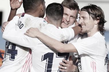 El Real Madrid celebra un gol en el Alfredo Di Stéfano. |Foto: @realmadrid
