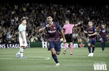 Maicon convirtiendo su gol en la ida de la semifinal 2010 // Getty Images