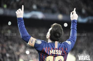 Leo Messi celebrando el 2-0 ante el Liverpool | Fuente: Noelia Déniz (VAVEL)