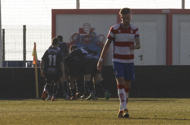 Nacho Buil, triste tras el gol del Don Benito   Foto: Antonio L. Juárez