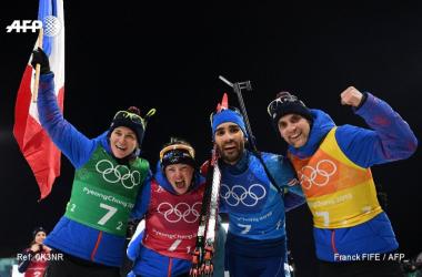 La joie des biathlètes français. (Twitter: @AFPSport)