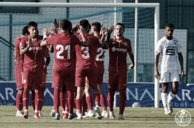 Los jugadores del Getafe celebrando uno de los goles del partido / Foto : Twitter Getafe