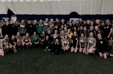 The Chicago Red Stars and Marquette University women pose together at the first preseason game of 2018 for the Red Stars. | @MUWomensSoccer