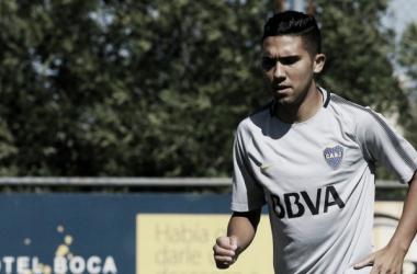 """Emanuel """"Bebelo"""" Reynoso en el entrenamiento de Boca. ¿Titular ante Banfield? Foto: Goal,com"""