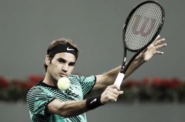 Roger Federer in azione a Indian Wells. Fonte: BNPParibasOpen/Twitter