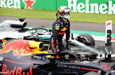 Pole position qualifier Daniel Ricciardo of Red Bull Racing celebrates after qualifying for the Formula One Grand Prix of Mexico. (Photo credit: Mark Thompson, Getty images)