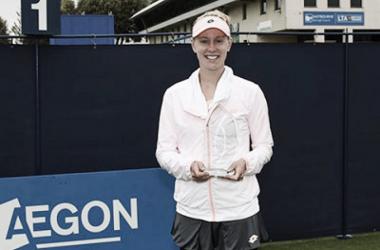 Alison Riske after her Aegon Eastbourne Trophy title win. Photo: Aegon Eastbourne Trophy