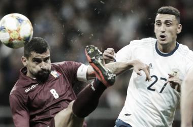 Matías Suarez, en su debut, fue uno de los que tuvo un nivel aceptable en el seleccionado. FOTO: Mundo D.
