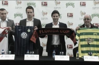 Presentación de la Florida Cup que tendrá a River junto a Wolsfburgo, el local Tampa Bay Rodwies, Corinthiansy Bayer Leverkusen (foto: TyC Sports).