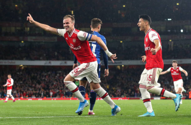 LONDON, ENGLAND - SEPTEMBER 24: Rob Holding of Arsenal celebrates scoring their 2nd goal during the Carabao Cup Third Round match between Arsenal and Nottingham Forest at Emirates Stadium on September 24, 2019 in London, England. (Photo by Charlotte Wilson/Offside/Offside via Getty Images)