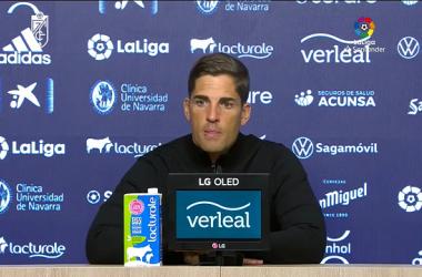 Robert Moreno en la rueda de prensa tras el partido contra Osasuna | Foto: Captura Youtube LaLiga