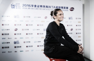Roberta Vinci talking to the press after her early exit in Zhuhai [Photo source: WTA Elite Trophy]