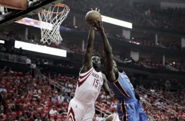Houston Rockets center Clint Capela (15) blocks the shot attempt of Oklahoma City Thunder guard Victor Oladipo (5). Photo: Erik Williams-USA TODAY Sports
