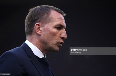 Brendan Rodgers, Manager of Leicester City looks on prior to the Premier League match between Burnley and Leicester City at Turf Moor on March 03, 2021, in Burnley, England. (Photo by Alex Pantling/Getty Images)