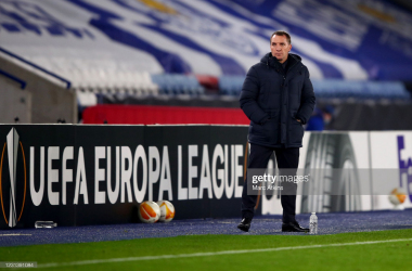 Leicester City manager Brendan Rodgers during the UEFA Europa League Round of 32 match between Leicester City and Slavia Praha on February 25, 2021. (Photo by Marc Atkins/Getty Images)