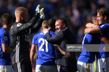 LEICESTER, ENGLAND - SEPTEMBER 21: Brendan Rodgers, Manager of Leicester City celebrates victory with Ricardo Pereira after the Premier League match between Leicester City and Tottenham Hotspur at The King Power Stadium on September 21, 2019 in Leicester, United Kingdom. (Photo by Laurence Griffiths/Getty Images)