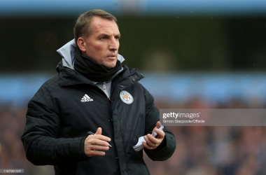 Leicester manager Brendan Rodgers looks on  during the Premier League match between Aston Villa and Leicester City | Photo: Simon Stacpoole/Offside/Offside
