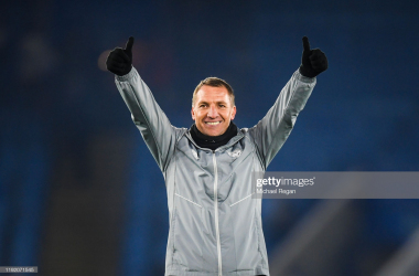 LEICESTER, ENGLAND - DECEMBER 04: Leicester manager Brendan Rodgers celebrates after the Premier League match between Leicester City and Watford FC at The King Power Stadium on December 04, 2019 in Leicester, United Kingdom. (Photo by Michael Regan/Getty Images)
