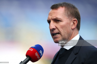Brendan Rodgers, Manager of Leicester City is interviewed by Sky Sports prior to the Premier League match between Leicester City and Manchester City at The King Power Stadium on April 03, 2021, in Leicester, England. (Photo by Manchester City FC/Manchester City FC via Getty Images)