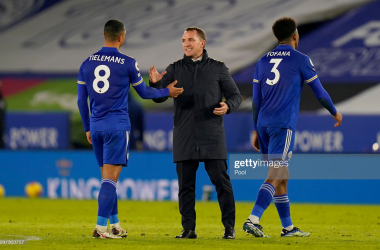 LEICESTER, ENGLAND - JANUARY 19: Brendan Rogers, Manager of Leicester City shakes hands with Youri Tielemans of Leicester City after the Premier League match between Leicester City and Chelsea at The King Power Stadium on January 19, 2021 in Leicester, England. Sporting stadiums around the UK remain under strict restrictions due to the Coronavirus Pandemic as Government social distancing laws prohibit fans inside venues resulting in games being played behind closed doors. (Photo by Tim Keeton - Pool/Getty Images)