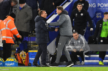 <div>Brendan Rodgers greets Ralph Hasenhuttl at the King Power Stadium | Photo: Getty/ NurPhoto</div>