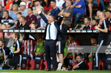Brendan Rodgers on the sidelines at Bramall Lane | Photo: Getty/ Ross Kinnaird