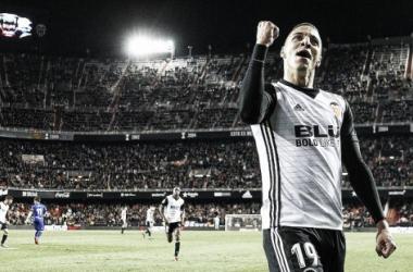 Rodrigo Moreno vuelve a rescatar a su equipo como ya hizo contra la UD Las Palmas. Fuente: Valencia CF.