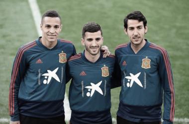 Rodrigo Moreno, Gayá y Parejo concentrados con 'La Roja'. Fuente: Selección Española