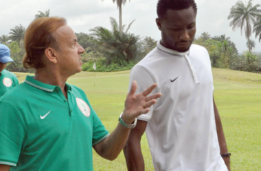 Mikel John Obi with Super Eagles Coach Gernot Rohr. Source: National Mirror