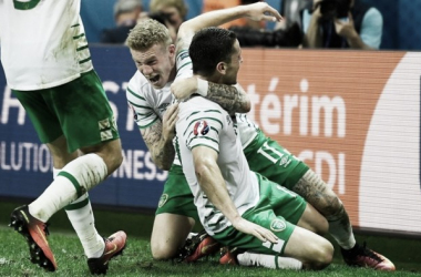 Brady's late winner sees Ireland face hosts France in the round of 16. (Photo: UEFA.com)