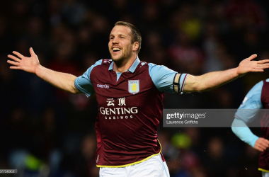 <b>Concrete Ron: Celebrating his first Villa goal in a 6-1 win against Sunderland (Via Getty Images/ Laurence Griffiths)</b>