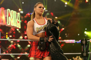 Ronda Rousey debuting in her first match in the WWE. Photo credit:`WWE.com