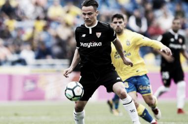 Roque Mesa en uno de los dos partidos que ha jugado con la elástica sevillista. Foto: SevillaFC.