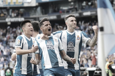 Rosales celebra el 1-0. Twitter. RCD Espanyol.