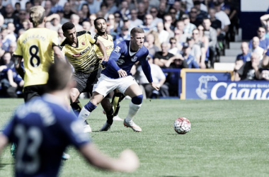 Barkley moves forward with the ball at Goodison Park. Picture: Everton FC
