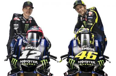 Maverick Viñales y Valentino Rossi con sus M1 | Fotografía: web oficial Yamaha