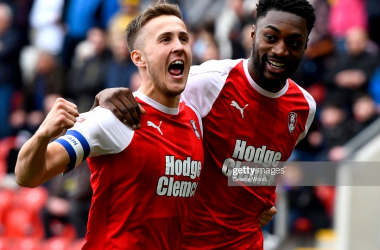 Sami Ajayi of Rotherham United celebrates after scoring his team's first goal with Will Vaulks of Rotherham United during the Sky Bet Championship match between Rotherham United and Blackburn Rovers at The New York Stadium on March 02, 2019. (Photo by George Wood/Getty Images).