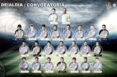 Convocatoria de la Real Sociedad contra el Sevilla. Foto: Real Sociedad