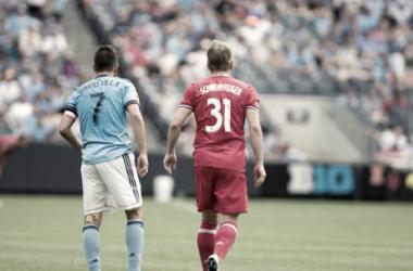 David Villa and Bastian Schweinsteiger earlier in the season. | Photo: NYCFC