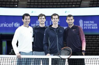 Tim Henman, Jamie Murray, Andy Murray and Grigor Dimitrov (Photo by Mark Runnacles)