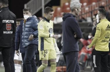Rubén Blanco tras su expulsión en Mestalla / Fuente: LaLiga