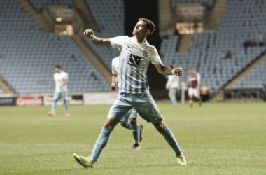Above: Ruben Lameiras celebrating his goal in West Ham's 4-2 defeat to Coventry City | Photo: Coventry Telegraph