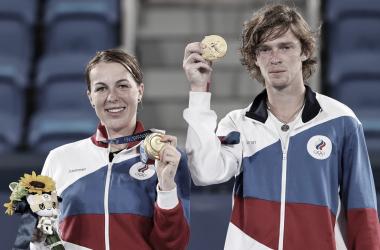 Pavlyuchenkova/Rublev venceramVesnina/Karatsev em Tokyo 2020 (Divulgação / COI)