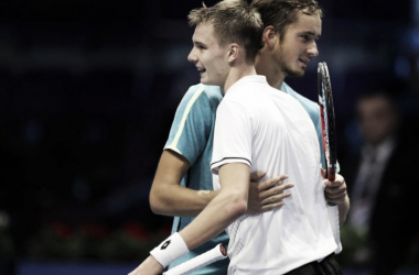 Daniil Medvedev and Alexander Bublik embrace after their first round match. Photo: St. Petersburg Open