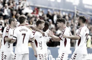 Los jugadores del Albacete celebran el gol en Santo Domingo   LaLiga 1 2 3