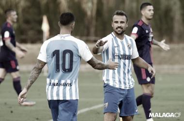 Orlando Sá celebrando un gol en pretemporada / Foto: Málaga CF