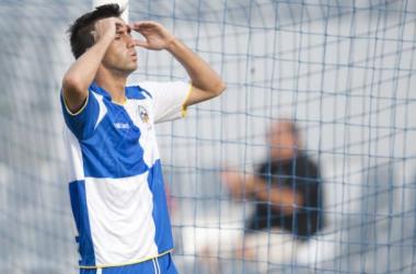 Lanzarote en un Sabadell - Almería, uno de sus mejores partidos como futbolista. Foto: Manel Montilla - MD.