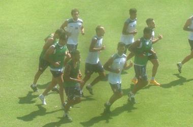 Tercer entrenamiento en el Estadio Centenario.