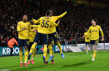 BOURNEMOUTH, ENGLAND - JANUARY 27: Bukayo Saka celebrates scoring Arsenal's 1st goal during the FA Cup Fourth Round match between AFC Bournemouth and Arsenal at Vitality Stadium on January 27, 2020 in Bournemouth, England. (Photo by David Price/Arsenal FC via Getty Images)